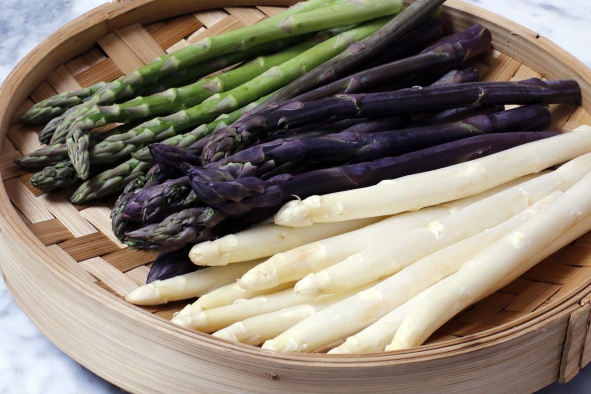 green, purple, and white asparagus